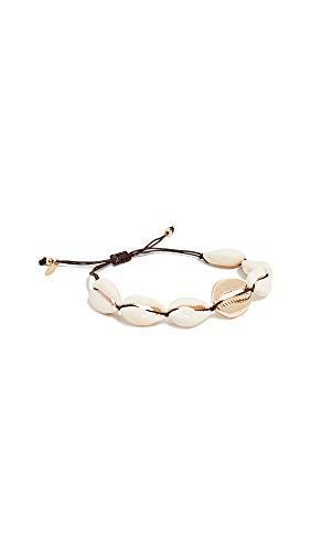 Maison Irem Women's Oahu Natural Shell Bracelet, Brass/Shell, Off White, Gold, One Size