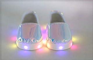 "Light UP Shoes for 18"" Dolls - Metallic Light - American Girl Doll, Gotz, My Life, Journey, Our Generation, Australian"