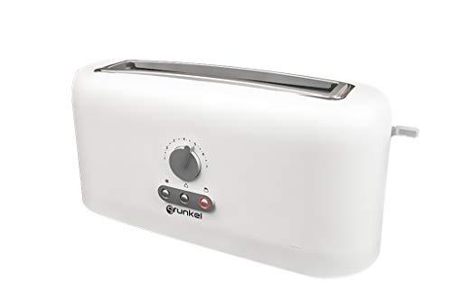 Grunkel - TS-140H - Tostador de ranura extra ancha con control electrónico de tostado. Función calentar sin tostar, descongelar y cancelar - 980W - Blanco