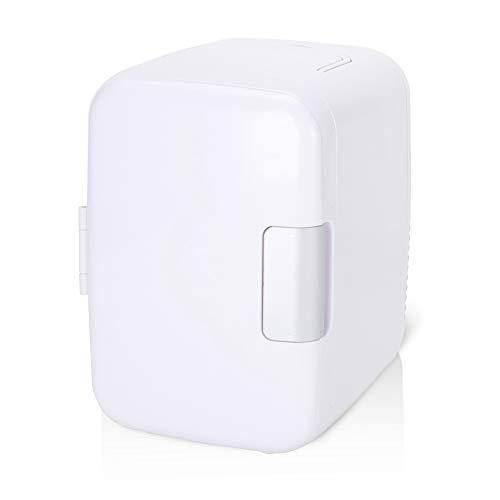 Akozon Mini nevera 4 litros / 6 latas Enfriador y calentador eléctrico Sistema de enfriador termoeléctrico portátil compacto para dormitorio o barco (blanco)