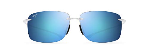 Maui Jim Hema Rimless Sunglasses, Crystal Matte/Blue Hawaii Polarized, Large