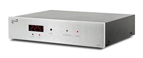 Dynavox HiFi-Netzfilter X7000S, Mehrfach-Steckdose mit 6 Steckplätzen, mit LED-Kontrollleuchte für korrekte Phasenlage und Display, Silber