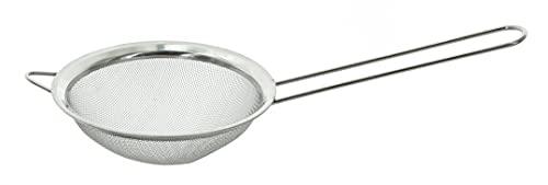MIK Funshopping Colador de cocina de acero inoxidable, accesorio para ollas con borde, apto para lavavajillas (12 cm de diámetro)