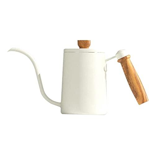 Boże Narodzenie prezent, ekspres do kawy, 600ml ekspres do kawy ręka ekspres do kawy z drewnianą rączką Długi dar z kawą Draphper 260 * 65 * 135 mm (czarny, srebrny, biały północ)
