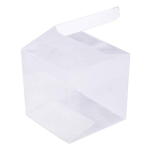 Yesland 35 PCS Candy Apple Box - 4 x 4 x 4 Inches - Clear Plastic Gift Boxes for Caramel Apples, Ornament, Treats & Party Favors for Wedding, Birthday Party or DIY Design