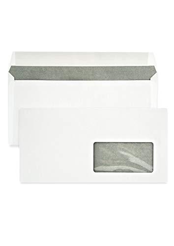 Netuno 1000 buste lettere lunghe bianche formato DL110 x 220 mm80g buste commerciali lunghe constampa interna grigio con finestra a destra taglio dritto con strip adesivo buste americane