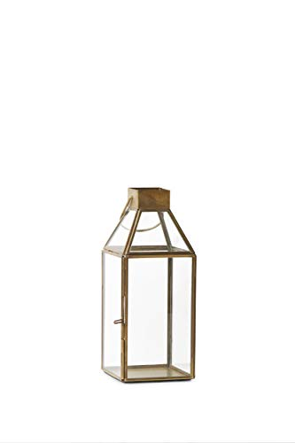 Serene Spaces Living Small Size Square Gold Lantern, Measures 10 inches Tall, Sold Individually