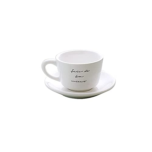 DAQ Tazas de café Juego de Tazas de té Tazas de café de cerámica Taza de café Francesa Adecuada para cumpleaños Hostel Accesorios para máquinas de café de Escritorio Tazas de café expreso 220 ml, Taz