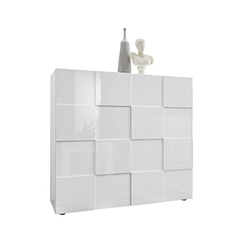 Shiito - Aparador Compuesto por 2 Puertas, Fabricado en Color Blanco Brillo. Modelo Dama 202308 04