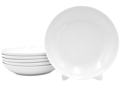 6 Stück Tiefe Suppenteller als Coupteller im Set aus echtem Porzellan Ø 205 mm weiß Teller auch zum Bemalen bestens geeignet Tafelgeschirr für Gastronomie und Haushalt