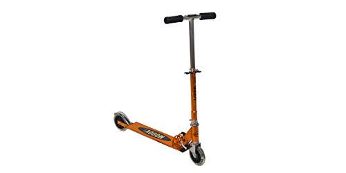 GIL-Design Alu Roller für Mädchen orange Faltbarer Roller LED-Räder Zweirad Höhenverstellbare Lenkerstange Belastbarkeit Maximal 50 kg Roller mit Bremse Tragbar