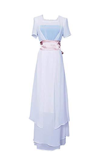Titanic Rose Cosplay Costume White Mess Blue Dress Chiffon Strap Slim Girls S