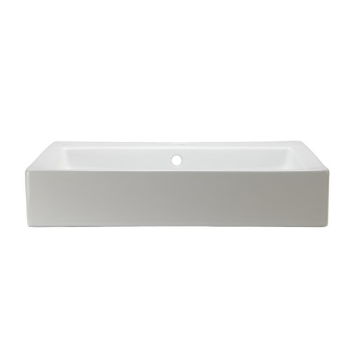 DECOLAV 1444-CWH Tallia Rectangular Above-Counter Ceramic Bathroom sink, 22.25 X 18.25 X 4 inches, white