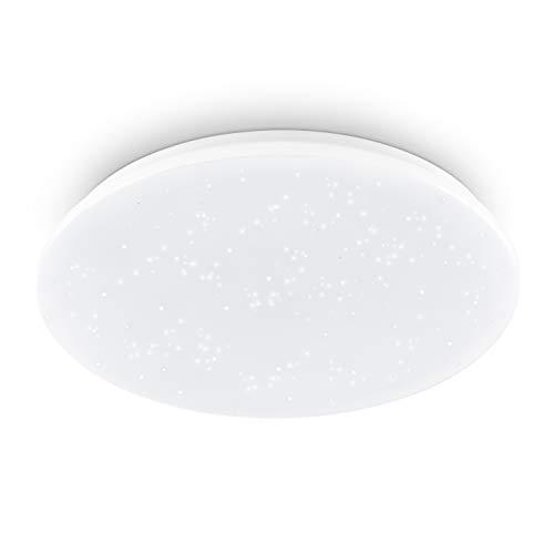 EGLO Deckenlampe Pogliola-S, Ø 50 cm, Kristalleffekt LED Deckenleuchte, 1 flammige Wohnzimmerlampe aus Stahl und Kunststoff, Lampe weiß, Kinderzimmerlampe, Küchenlampe, Bürolampe, Flurlampe Decke