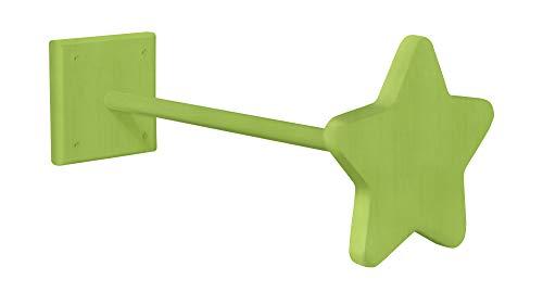 BioKinder 25276 Betthimmelhalter Himmelstange Aufhängung Stern aus Massivholz Kiefer 44 cm grün lasiert