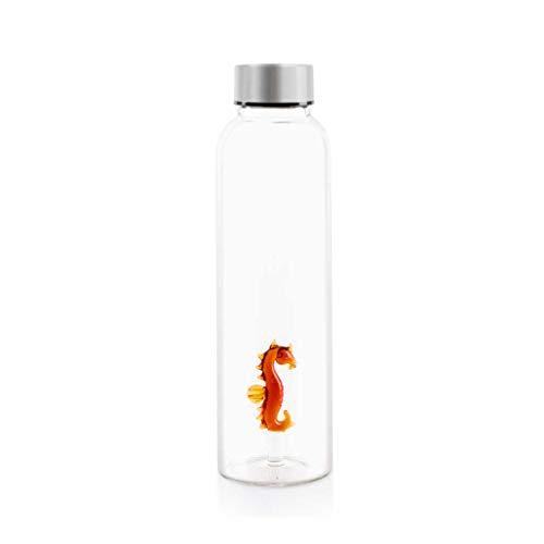 Balvi Bottle Sea Horse voor water 0,5Lts Roestvrij stalen druppeldop Ideale nachtkastje en kantoor 23 cm Borosilicate