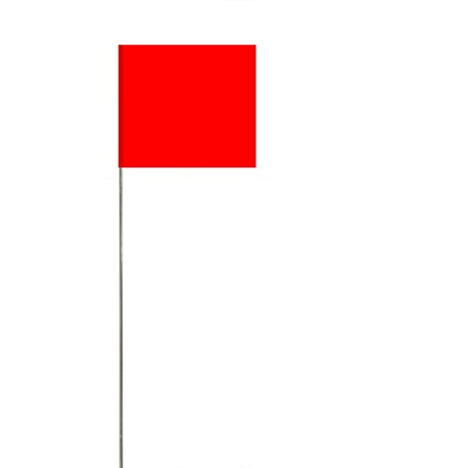 Swanson FRG15100 2.5-Inch by 3.5-Inch Marking Flags with 15-Inch Wire Staffs, Red 100-Pack