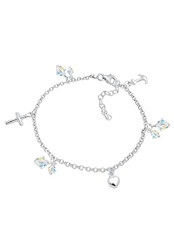 Elli Armband Damen Kreuz Herz Anker mit Kristalle in 925 Sterling Silber