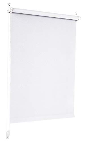 Sonello Verdunkelungsrollo Klemmfix ohne Bohren 90cm x 210cm Weiß Verdunklungsrollo Fensterrollo Rollo Seitenzugrollo Klemmrollo für Fenster & Tür