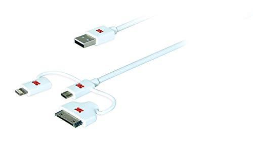 Promate linkMate-trio Geïntegreerde 3-in-1 Smart USB-kabel voor opladen/synchroniseren Lightning, 30 pin en Micro-USB - Wit