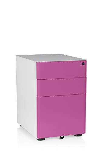 hjh OFFICE 743011 Rollcontainer Color Stahl Weiß/Pink Büro Schubladenelement mit Rollen, Hängeregister, abschließbar