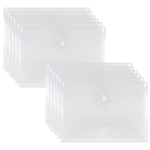 NatureTouch クリアファイル A5 12枚 クリアホルダー 高透明カラー ファイル ケース 通知表ホルダー ファイルバッグ ドキュメントストレージ ボタン式 ヨコ型 プラスチック 透明 防水 バッグ カバン 書類整理 資料収納 書類保護 文房具