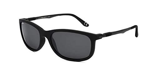 Gafas de sol marca Polar modelo 3001 con frontal engomado y varillas de metal (terminales de goma) color negro con lentes polarizadas grises
