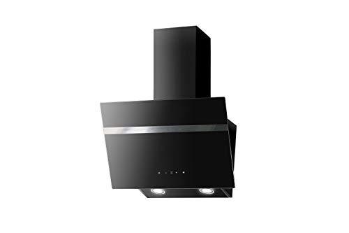 PKM Dunstabszugshaube Schwarz | 60cm | Randabsaugung | Touch Control & LED Beleuchtung | EEK A | 415m³/h - 616m³/h Luftstrom | Abluft- und Umluft