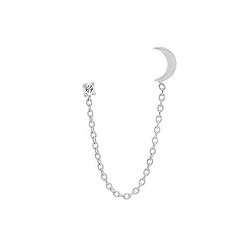 SHOYY Pendientes de tuerca con diseño de estrella de gota y luna para mujer, rectángulo, circonita y cristal de cartílago (color de la gema: plata B, 1 unidad)