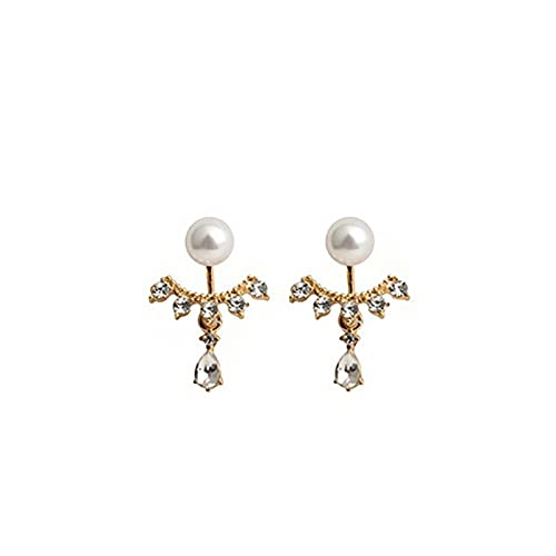 Pendientes de botón de personalidad de perlas delanteras y traseras de aguja de plata 925 Pendientes colgantes de gota de diamantes de imitación completos Pendientes de moda elegantes de viento frío