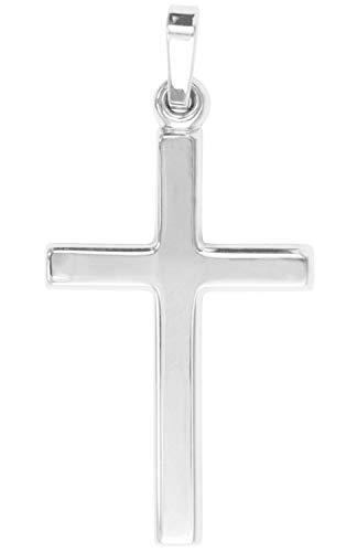 Kreuz Anhänger (Ohne Kette) Weissgold 585 Gold (14 Karat) 33mm x 15mm Goldkreuz Weißgoldkreuz Kreuzanhänger White Rosy V0001371