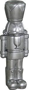 Hochwertige & Moderne Nussknacker Figur - Fiberglas Deko - Weihnachten Dekoration - Dekofigur/Nussknackerfigur - Weihnachtsdeko (Höhe: 59 cm (Groß), Silber)