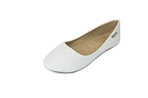 Frentree Klassische Damen Ballerinas Schuhe(nehmen Sie eine Nummer größer als Vorschlag), Farbe:weiß, Größe:39