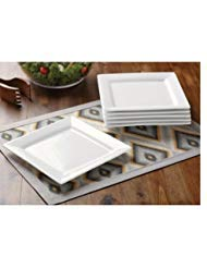 Better Homes and Gardens White, Square Porcelain Salad Plates, Microwave Safe and Oven Safe, Set of 6