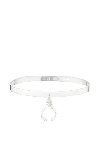 Córdoba Jewels | Brazalete de Acero con Charm en Plata de Ley 925 y nácar con diseño Brazalete Chanclas Nácar Silver