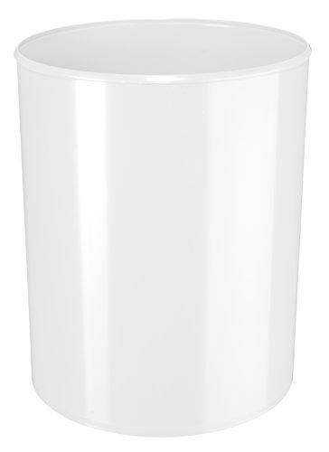 HAN Sicherheitspapierkorb 1814-S-12 in Weiß/Schwer entflammbarer Papierkorb mit Aluminium Einlage/Für mehr Sicherheit im Büro/Fassungsvermögen: 13 Liter