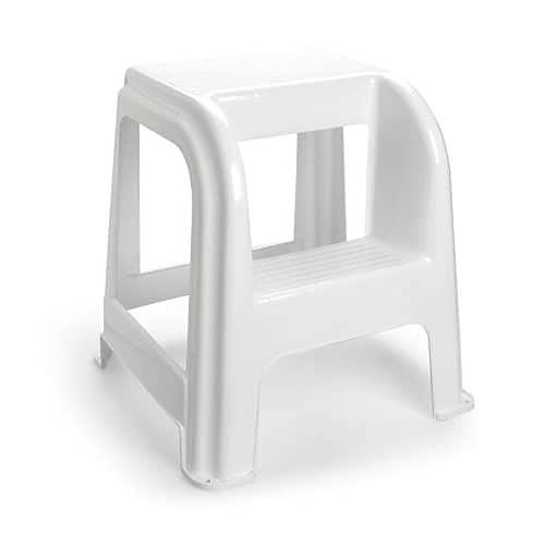 CABLEPELADO Taburete de plastico con Escalon Blanco