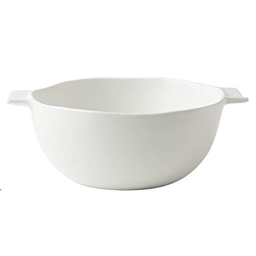 Bol Grand bol à oreille en céramique de style nordique en céramique bol de 8 pouces anti-brûlure mate glacée bol à fruits bol à salade-6 couleurs (Couleur : Blanc)