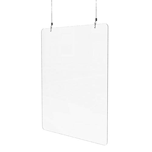 Sneeze Guard for Counter (24'W x 32'H), Hanging Plexiglass Shield, Ceiling Mount Clear Acrylic Plastic Barrier for Countertops, Desk, Cashier, Manicurist, Protection from Germs [Made in USA]