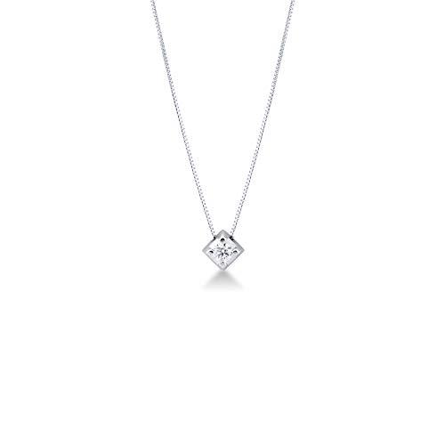 Gioielli di Valenza - Collana Punto Luce in Oro Bianco 18k con Diamante - PU22030BB