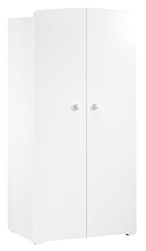 BABY PRICE New Basic Armoire Chambre Bébé 2 Portes avec Bouton Boule Blanc