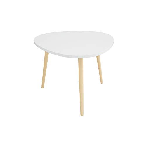 Mesa de centro nórdico, triángulo de escritorio, mesa auxiliar de madera, para dormitorio, sofá, blanco, azul, amarillo, rosa (tamaño: 60 x 60 x 39 cm, color: blanco)