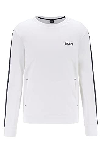 BOSS Herren Heritage Sweatshirt Loungewear-Sweatshirt aus Baumwoll-Terry mit Logo-Tapes