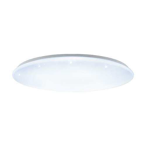EGLO LED Deckenlampe Giron-S, 1 flammige Deckenleuchte mit Sternenhimmel-Effekt, Material: Stahl, Kunststoff, Farbe: weiß, Ø: 100 cm, dimmbar, weißtöne per Fernbedienung einstellbar