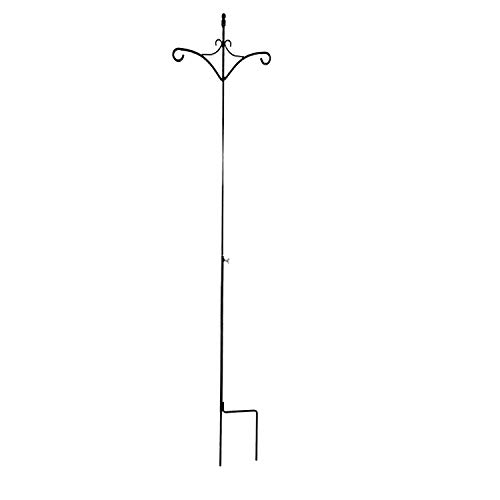 Ashman 91 Inch Adjustable Shepherds Hook with Twin Hooks 5/8 Inches Thick, Super Strong, Rust Resistant Steel Hook for Hanging Plant Baskets, Bird Feeders, Wind Chimes and use at Weddings(2 Pack)