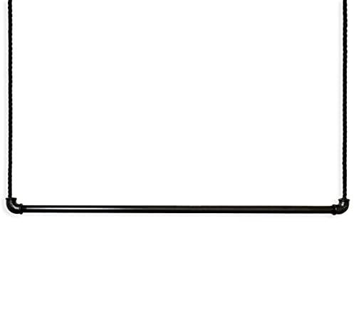 Craftwerk11 Perchero de pared Pro | Tubo de metal recubierto de color negro premium con cuerda de vela | Barra para colgar en el techo | Vintage Industrial | Colgante y regulable en altura (87 cm)