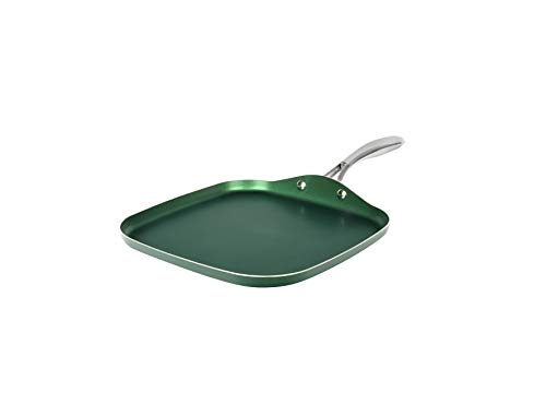 Granitestone Green Nonstick Griddle Pan/Flat Grill with Ultra Durable Mineral and Diamond Triple Coated Surface Stainless Steel Stay Cool Handle Oven amp Dishwasher Safe 100% PFOA Free 105quot