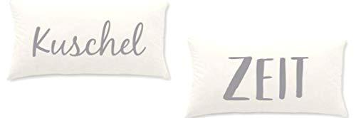 Home Edition 2er Pack Jersey Kissenbezug mit Sprüchen für Kopfkissen, 40 x 80 cm - Beige