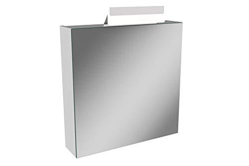 Lanzet LED Spiegelschrank L1 / Badschrank mit LED Leuchte/Maße (B x H x T): ca. 60 x 68 x 14,5 cm/Möbel fürs Bad oder WC/Schrank mit Spiegel / 1 Tür/Türanschlag Links/Korpus: Weiß Glanz