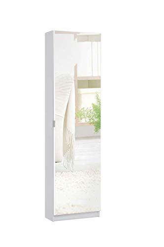 Avanti Trendstore - Sumatra - Scarpiera con Specchio Anteriore, Offre 6 vani Interni, in Legno Laminato di Colore Bianco, Dimensioni Lap 50x180x20 cm